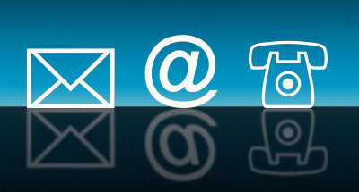 Icons for mail, email, and phone--white on blue ground with reflection.