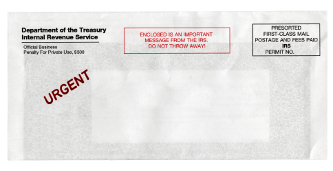 """Envelope with IRS return address and red """"urgent"""""""