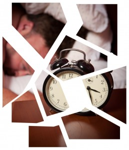 """man in bed, eyes wide open, clock showing 3:30 (presumably a.m.). The picture is broken up on a white background- """"fractured"""""""