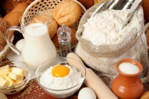 Bread, flour, milk, butter, eggs