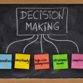topics related to decision making process - uncertainty, alternatives, risk consequences, complexity, personal issues; white chalk handwriting and color sticky notes on blackboard