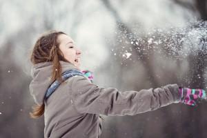 Teenage girl enjoying winter