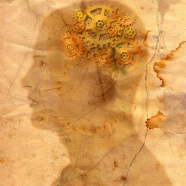 "Faded drawing of man's head in profile, on old-looking, stained paper. The ""brain area"" is filled with gears."