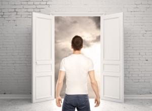 man and opened door