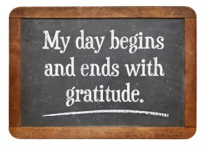 My day begins and ends with gratitude - positive affirmation words on a vintage slate blackboard