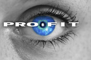 profit eye looks at viewer concept macro