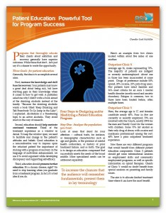 """Image of """"Patient Education: Powerful Tool for Program Success"""" document"""