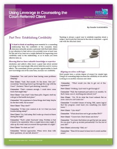 """Image of """"Using Leverage in Counseling the Court-Referred Client, Part 2: Establishing Credibility"""" document"""