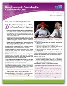 "Image of ""Using Leverage in Counseling the Court-Referred Client, Part 5: Maintaining Motivation"" document"